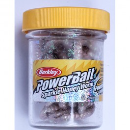 Berkley Powerbait Sparkle Honey Worm Natural/Scales - 55Stk. - Futterimitate
