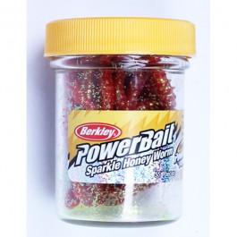 Berkley Powerbait Sparkle Honey Worm Red/Scales - 55Stk. - Futterimitate